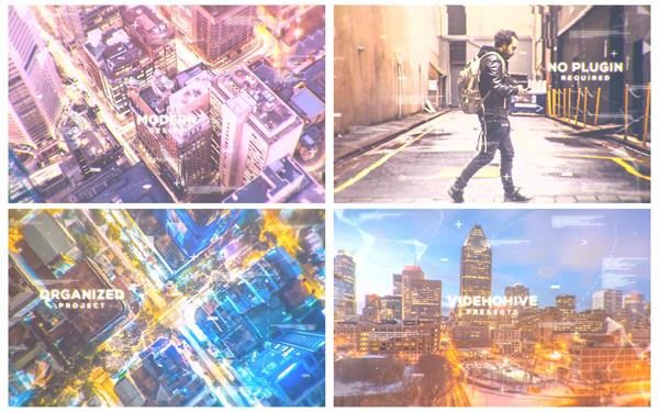 AE模板 未来科技数字化符号变化视觉层叠图文幻灯片模板 AE素材