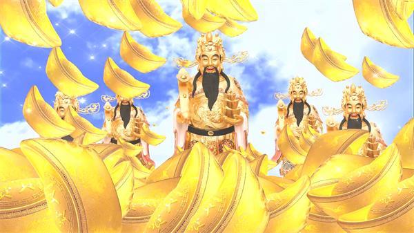 天空洒落金色元宝财神到新年财神报喜舞台屏幕背景视频素材