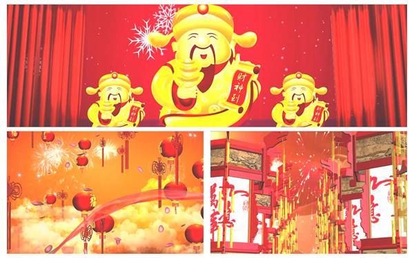 缤纷喜庆典雅新年气味中国结灯笼红绸巾飞翔渲染节日配景视频素材