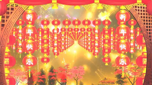 古典文明圆拱门陈列划一灯笼烟花绽放归纳高兴喜庆新年配景视频素