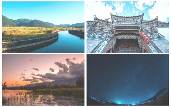 云南唯美自然风光农田乡村清闲气息轻云飘浮天空景色高清延时摄影