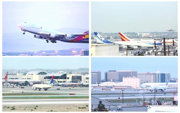 大型国际机场飞行客机起飞升降航行航空交通机场高清视频拍摄