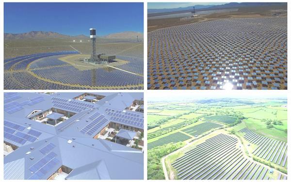 新动力太阳能发电板陈列摆放吸取热能供电新技能高清视频航拍