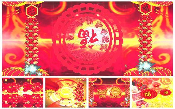 2017中国农历鸡年春节祝福拜年欢乐晚会开场片头背景视频素材