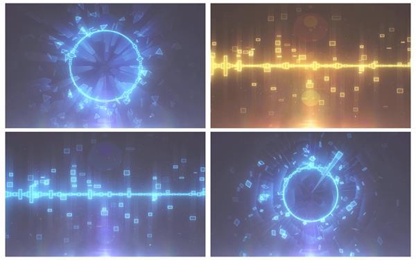 时尚动感音乐频率节奏跳动歌曲光效粒子渲染LED背景视频素材