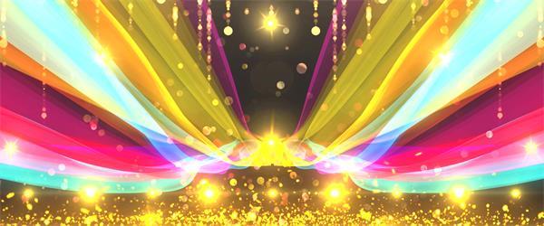 大型晚会场景彩绸飞舞金色灯光照射粒子视觉暖场开场背景视频素材