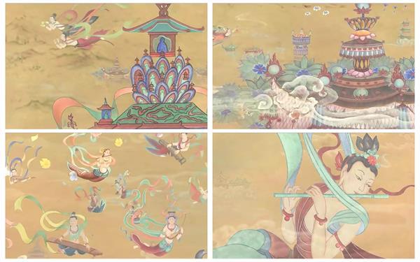 趣味敦煌仙人飛天古典文化中國風圖案童話故事動態背景視頻素材