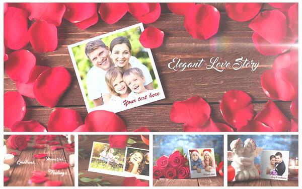 AE模板 温馨玫瑰灯光渲染浪漫情人节婚礼电子相册揭示模版 AE素材