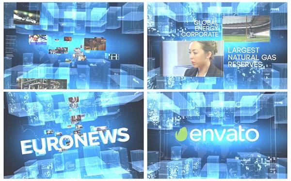 AE模板 超高科技3D空间全息企业旧事视频墙收场栏目包装模版 AE素