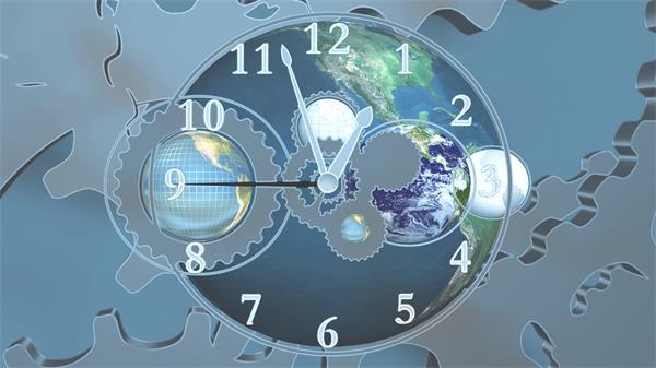 世界时钟指针快速转动齿轮转动变幻动感时间LED背景视频素材