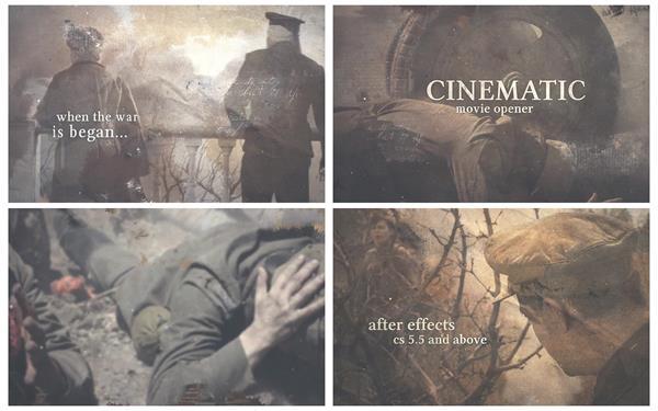 AE模板 复古怀旧历史电影水墨晕染过渡电子相册幻灯片头模板 AE素