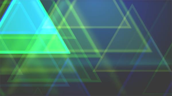 梦境绿色三角形缩放科技感视觉线条活动酒吧派对LED配景视频素材