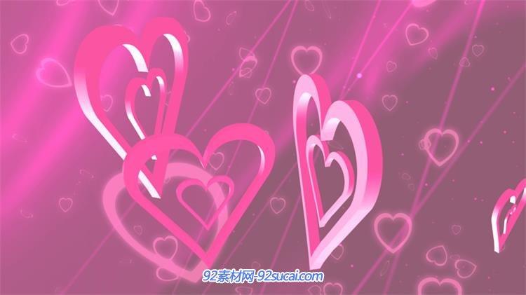 紫色主题三维空间爱心转动变幻高贵大气婚礼屏幕动态背景视频素材