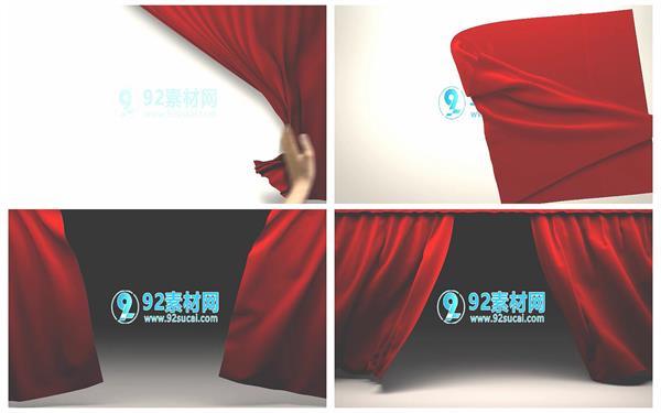 会声会影X6模板 高雅大气红绸巾帷幕演绎个性企业LOGO开场片头模