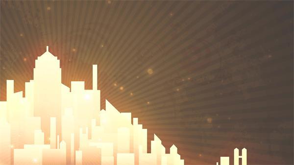 华丽发光城市建筑粒子射线场景渲染大气质感画面VJ背景视频素材