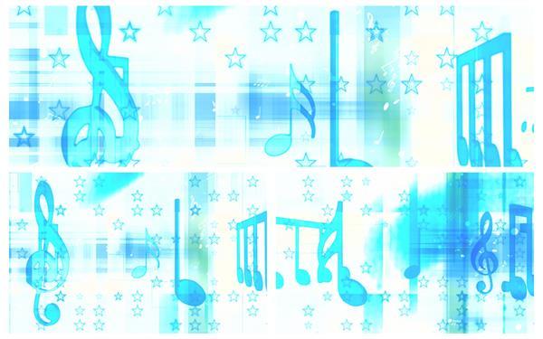 缤纷欢乐星星背景蓝色音符旋转变幻音乐场景舞台背景视频素材