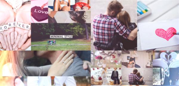 AE模板 甜蜜浪漫爱情回忆相册平滑移动切换图文幻灯片揭示模板 AE