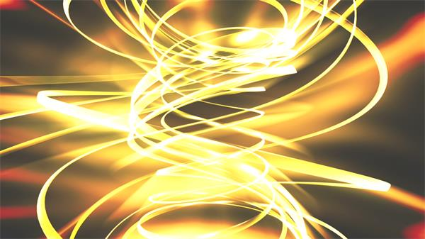 暖和黄色光效龙卷风丝带旋变化幻华美光束视觉打击配景视频素材