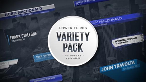 AE模板 时尚蓝色商务科技风格毛刺栏目包装标题字幕条模板 AE素材