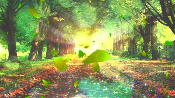 华丽唯美花瓣飞舞渲染树木梦幻场景花朵盛开生长背景视频素材