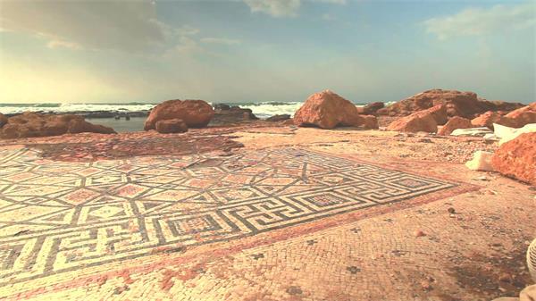 古典歷史遺址文化氣息海岸浪花沖擊自然風光景色高清視頻實拍