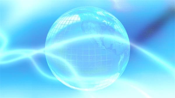 蓝色商务科技地球旋转光效线条运动网络数据化背景视频素材