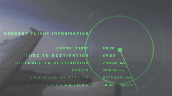 现代科技发展数据读出平面飞机边翼显示资讯视屏幕器频素材