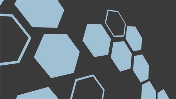 扁平化科技智能旋轉六角形視覺沖擊舞臺屏幕背景視頻素材