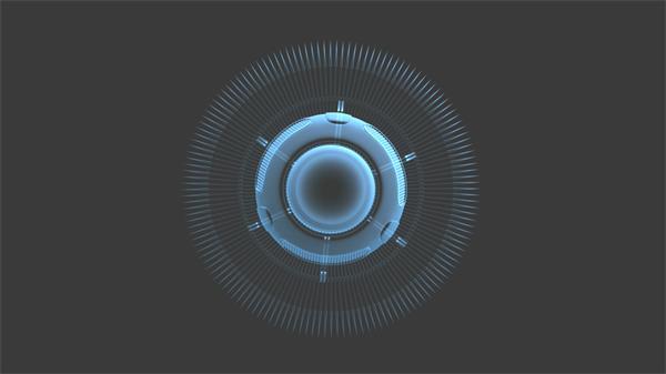 神秘探索科技六边形圆旋转蓝色光视觉效果舞台VJ背景视频素材