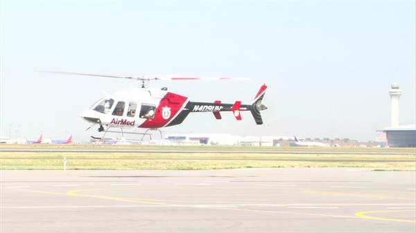 医疗专用直升飞机停机场起飞赶往目的地直升机高清视频实拍
