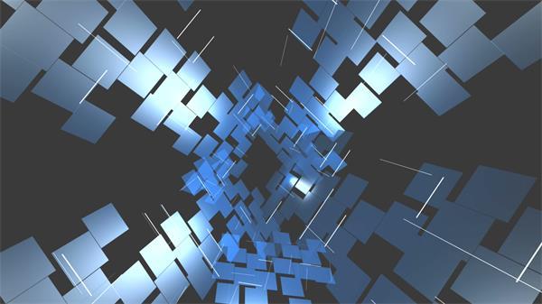 蓝色科技小方块拼接时空隧道视觉旋转科幻场景LED视频素材
