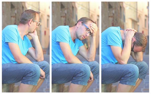 男士坐在楼梯上悲伤沉思动作姿态表情变化演示高清视频实拍