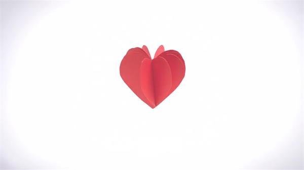 ae模板 简洁动感照片折叠变化爱心旋转明信片宣传展示