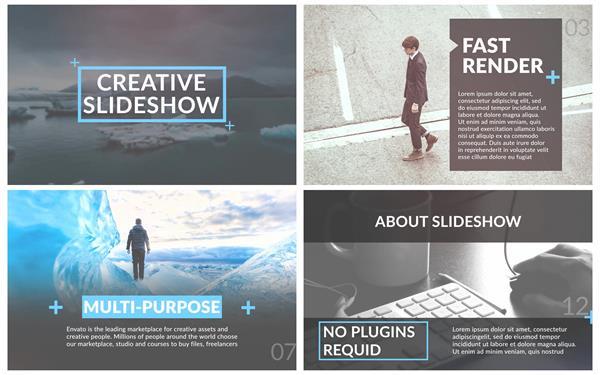 AE模板 专业商务科技滑动切换图文企业引见宣传片头模板 AE素材