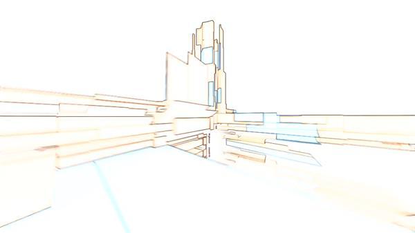 虚拟3D建筑物线条构建场景循环旋转视觉房地产LED背景视频素材