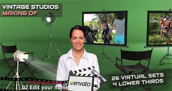 AE模板 复古虚拟场景屏幕投影机演绎电影工作室动画模板 AE素材
