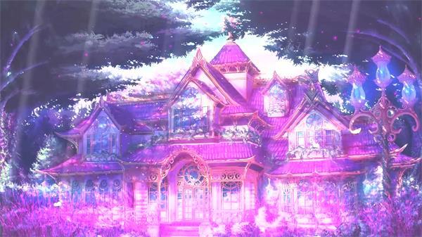 唯美梦幻仙境森林中阳光照射华丽城堡动画情景背景视频素材