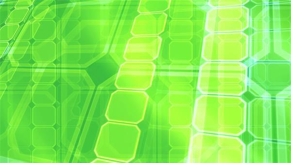 绿色科幻空间八角方块排列移动交错视觉LED屏幕动态背景视频素材