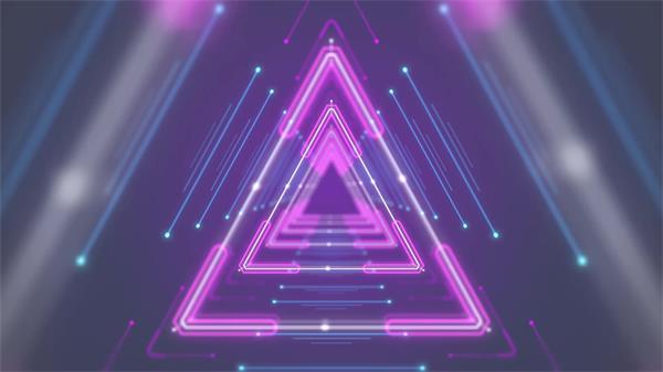时空探索动感光效三角回形隧道穿越效果动态屏幕VJ背景视频素材