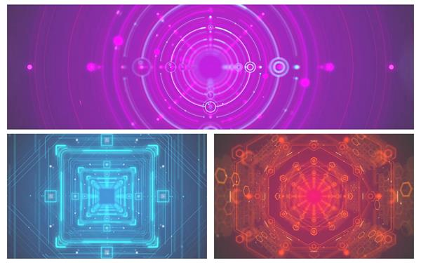 3款時尚動感虛擬三維空間隧道穿梭視覺沖擊VJ屏幕背景視頻素材