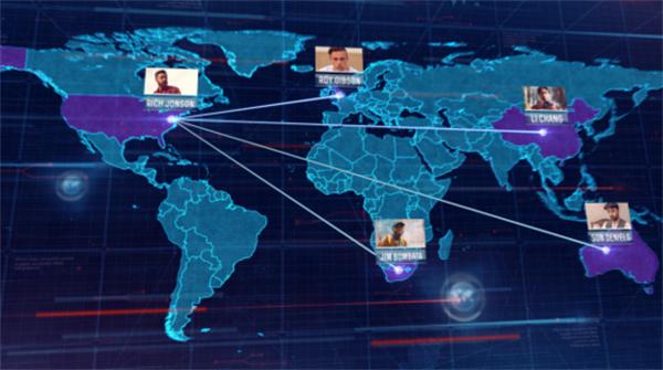 AE模板 现代化商务网络科技效果渲染分析世界地图标识模板 AE素材