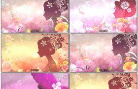 缤纷颜色花朵飘浮光效粒子渲染密斯背影童话故事配景视频素材