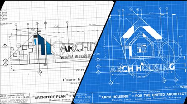 AE模板 极简线性手绘渲染建筑效果企业LOGO标志揭示模板 AE素材