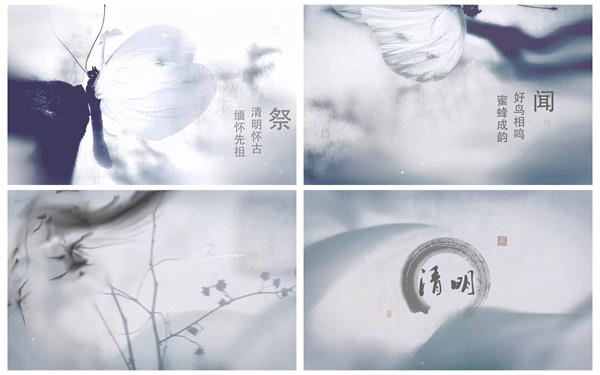 AE模板 中国风古典明朗节水墨蝴蝶渲染节日片头模板 AE素材