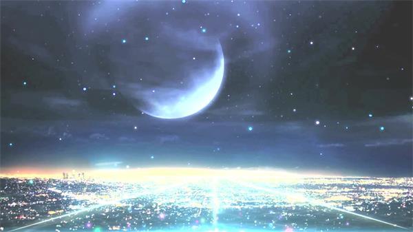 唯美浪漫壮丽绚烂星空都会夜景粒子飘浮屏幕配景视频素材