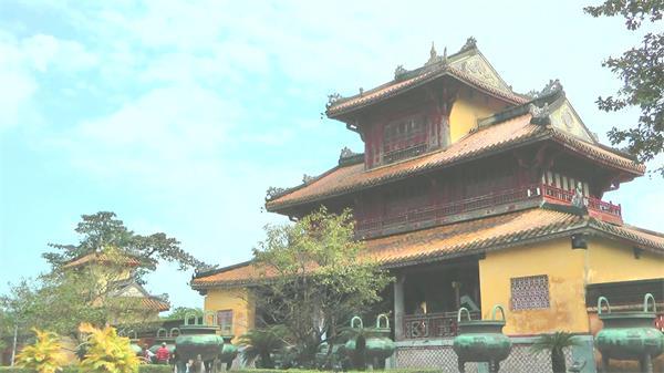 越南帝国古城建筑遗址人文旅游风光特写高清视频实拍