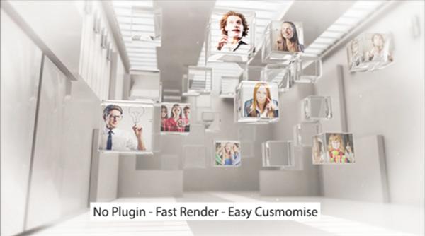 AE模板 创新3D空间立体图片移动转换镜头展示模板 AE素材