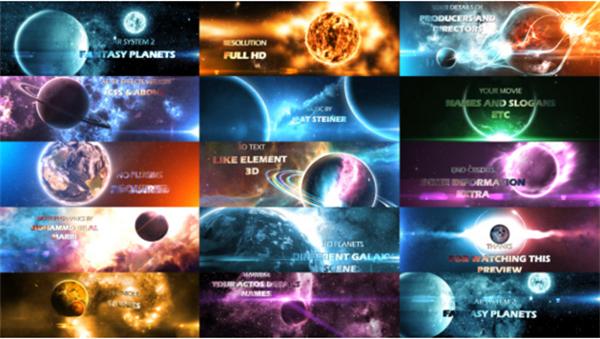 AE模板 创意丰厚渲染科幻3D假造梦想光学行星场景宣传模板 AE素材