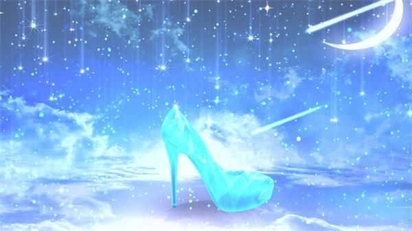 浪漫唯美月亮星星飘浮粒子闪烁渲染水晶鞋屏幕背景视频素材