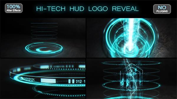 AE模板 高科技HUD视觉光束效果渲染科技企业LOGO标志模板 AE素材